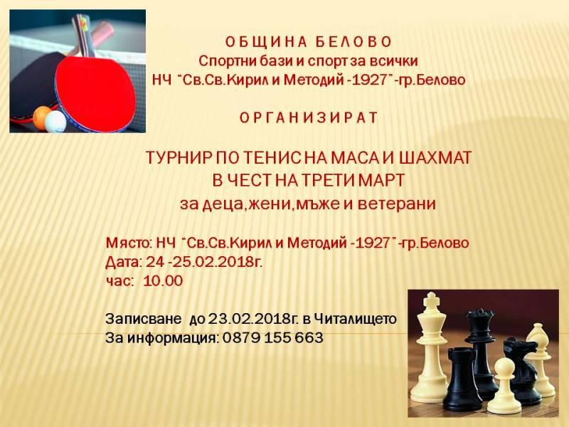 Турнир по тенис на маса и шахмат